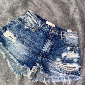 GARAGE high waisted ripped denim shorts size 3